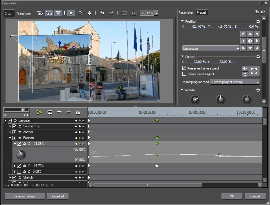 Video Layouter with Keyframes